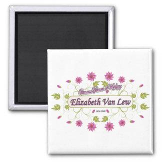 Lew ~ Elizabeth Van / Famous USA Women 2 Inch Square Magnet