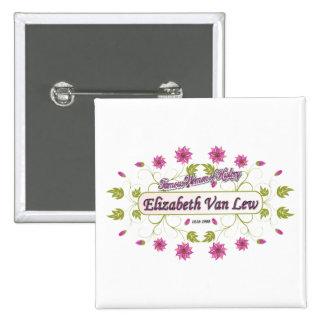 Lew ~ Elizabeth Van / Famous USA Women Pinback Button