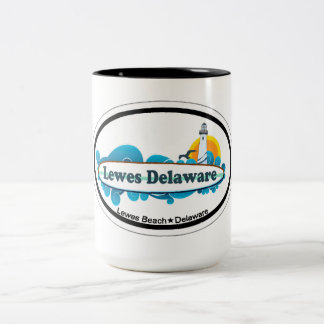Lewes Beach Oval Design. Two-Tone Coffee Mug