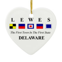Lewes, DE 2- Nautical Flag Spelling Ceramic Ornament