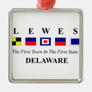 Lewes, DE 2- Nautical Flag Spelling Metal Ornament