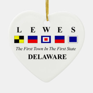 Lewes, DE 2- Nautical Flag Spelling Double-Sided Heart Ceramic Christmas Ornament
