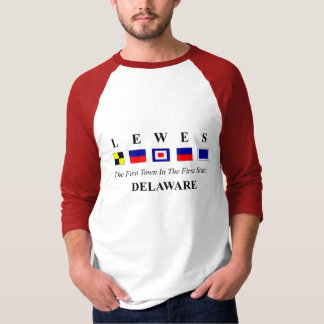 Lewes, DE 2- Nautical Flag Spelling T-Shirt