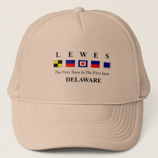 Lewes, DE 2- Nautical Flag Spelling Trucker Hat