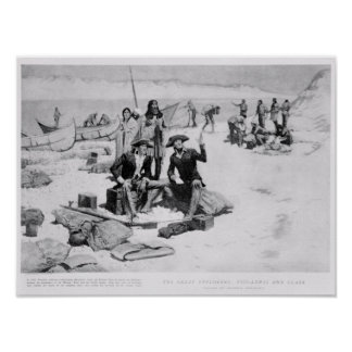 Lewis and Clark at the mouth of the Columbia Poster