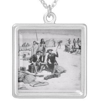 Lewis and Clark at the mouth of the Columbia Square Pendant Necklace