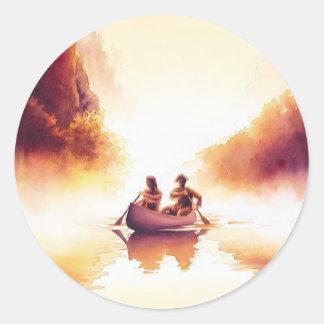 """Lewis and Clark"" River Scene Watercolor Classic Round Sticker"
