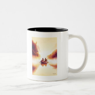 """Lewis and Clark"" River Scene Watercolor Two-Tone Coffee Mug"