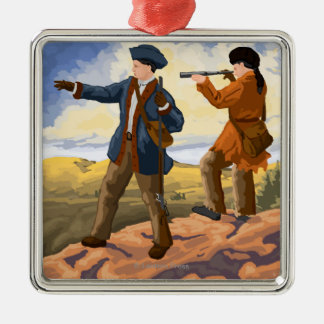 Lewis and Clark - Seaside, Oregon Square Metal Christmas Ornament