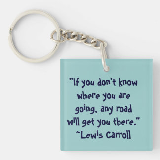 Lewis Carroll Any Road Quote Double-Sided Square Acrylic Keychain