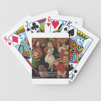 Lewis Carroll Illustration & Mind Change Quote Bicycle Playing Cards