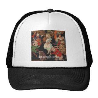 Lewis Carroll Illustration & Mind Change Quote Mesh Hat