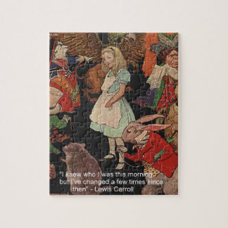 Lewis Carroll Illustration & Mind Change Quote Jigsaw Puzzle