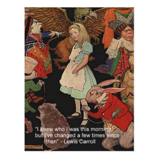 Lewis Carroll Illustration & Mind Change Quote Postcard