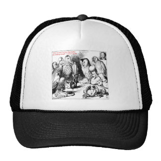 Lewis Carroll Looking Glass Illustration & Quote Mesh Hats