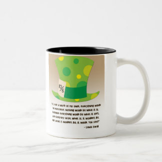 Lewis Carroll Mad Hatter Alice in Wonderland Two-Tone Coffee Mug