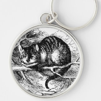 Lewis Carroll's Cheshire Cat Silver-Colored Round Keychain