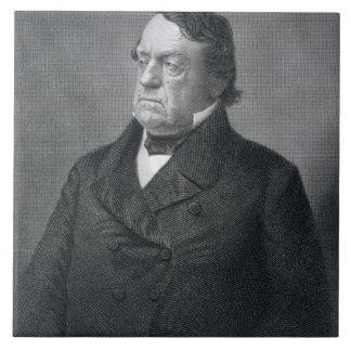 Lewis Cass, grabado por Guillermo G. Jackman (fl.c Azulejo Cuadrado Grande