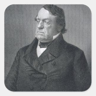 Lewis Cass, grabado por Guillermo G. Jackman Pegatina Cuadrada