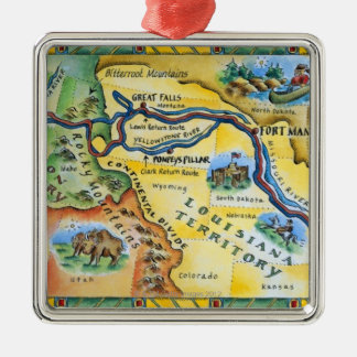Lewis & Clark Expedition Map Metal Ornament