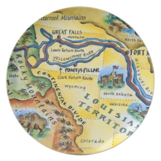 Lewis & Clark Expedition Map Dinner Plates