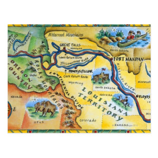 Lewis & Clark Expedition Map Postcard