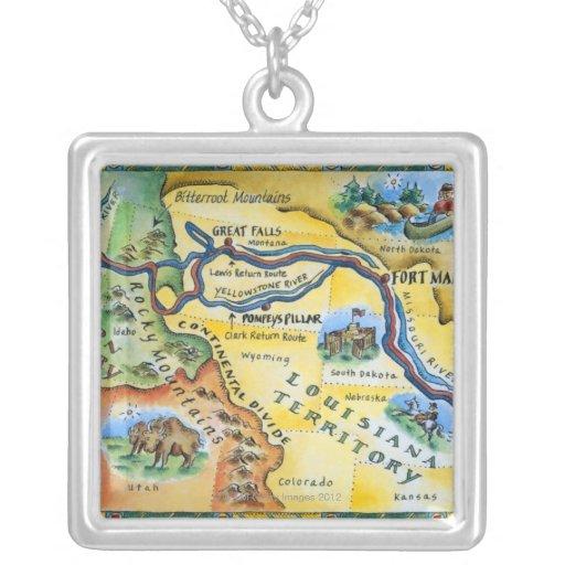 Lewis & Clark Expedition Map Square Pendant Necklace