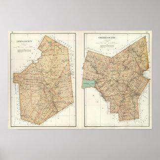 Lewis, condados del Oneida Póster