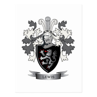 Lewis Family Crest Coat of Arms Postcard