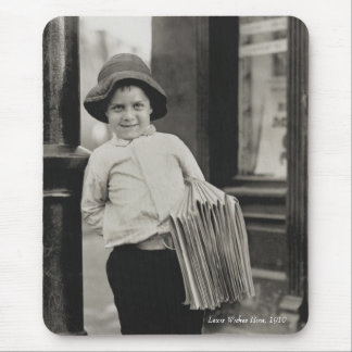 Lewis Wickes Hine - Newsboy in St. Louis, 1910 Mouse Pad