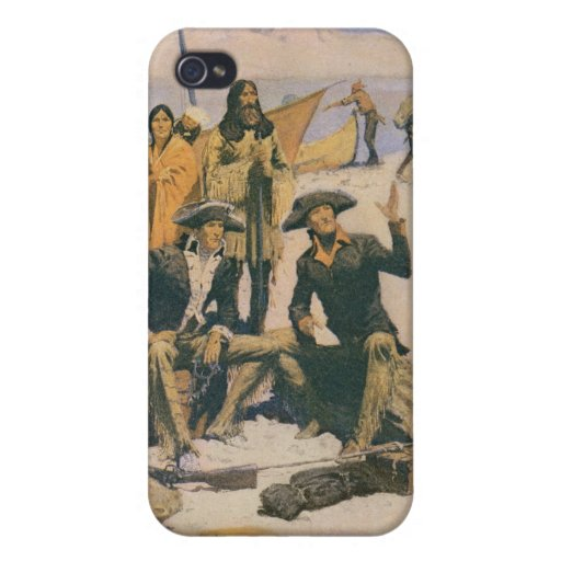 Lewis y Clark en el río Columbia iPhone 4 Cárcasas