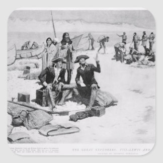 Lewis y Clark en la boca de Columbia Pegatina Cuadrada