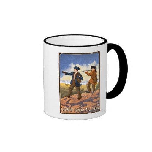Lewis y Clark que exploran el oeste Taza