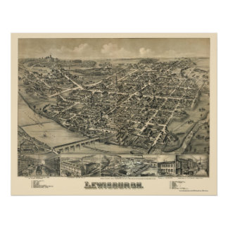 Lewisburg, mapa panorámico del PA - 1884 Posters