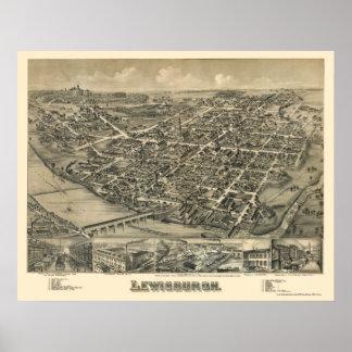 Lewisburg, PA Panoramic Map - 1884 Poster