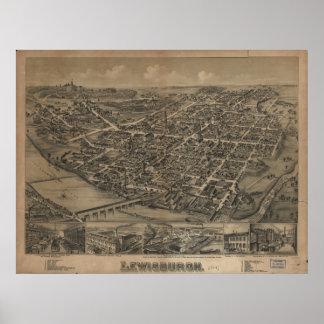 Lewisburg Pennsylvania 1884 Antique Panoramic Map Poster