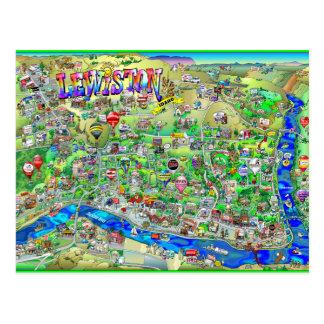 Lewiston Idaho Cartoon Map Postcard