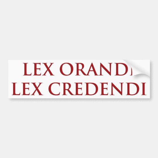 Lex Orandi Lex Credendi in red Bumper Sticker