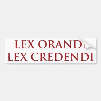 Lex Orandi Lex Credendi in red distressed Bumper Sticker