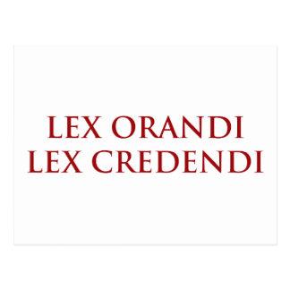 Lex Orandi Lex Credendi in red Postcard