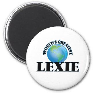 Lexie más grande del mundo imán redondo 5 cm