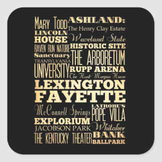 Lexington Fayette Kentucy City State Typography Square Sticker