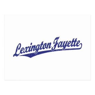 Lexington-Fayette script logo in blue distressed Postcard
