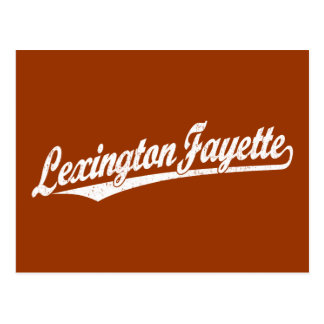 Lexington-Fayette script logo in white distressed Postcard