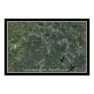 Lexington Kentucky From Space Satellite Art Poster