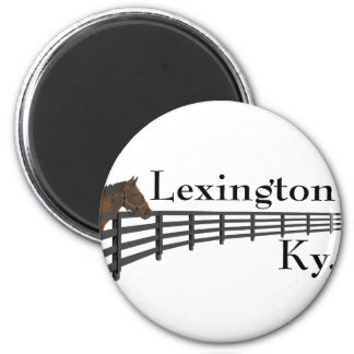 Lexington Kentucky Horse and Fence 2 Inch Round Magnet