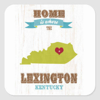 Lexington, Kentucky Map – Home Is Where Square Sticker
