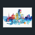"Lexington, Kentucky watercolor skyline Canvas Print<br><div class=""desc"">Lexington,  Kentucky watercolor skyline</div>"