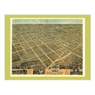 Lexington KY 1871 Antique Panoramic Map Postcard