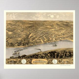 Lexington, mapa panorámico del MES - 1869 Póster